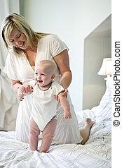 portion, bébé, promenade, apprendre, mère