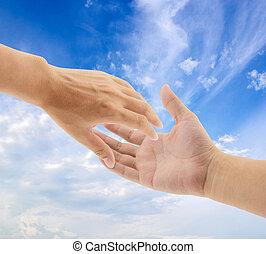 portion, ciel, fond, mains