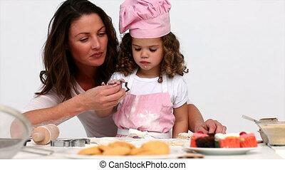 portion, cuire, fille, elle, mère