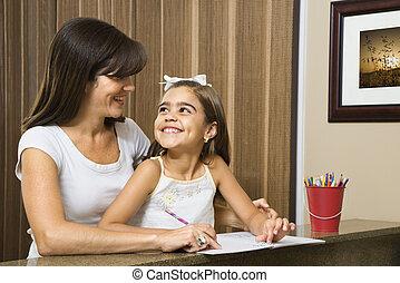 portion, daughter., mère