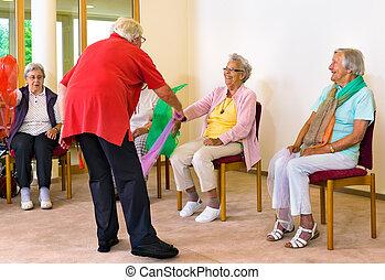 portion, exercices, instructeur, Écharpe, Femmes