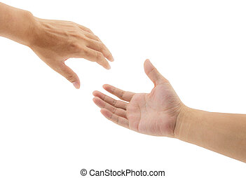 portion, fond blanc, mains