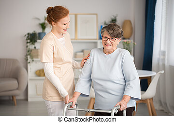 portion, gardien, monde médical, personne âgée femme