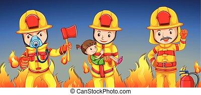 portion, girl, pompier