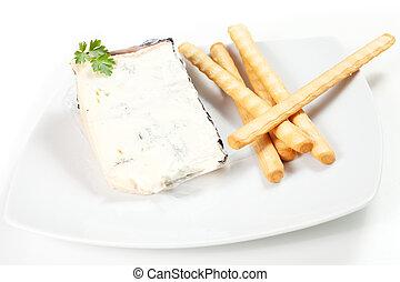Gorgonzola cheese - Portion Gorgonzola cheese on white ...