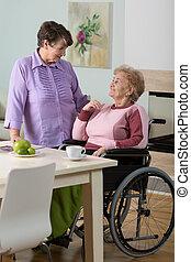portion, handikappad, caregiver, kvinna
