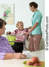 portion, handikappad, sköta, kvinna