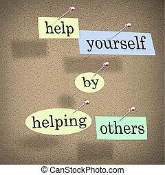 portion, hjälp, -, dig själv, fastklämd, bord, ord, andra