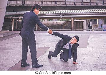 portion, homme affaires, concept, business, main