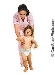 portion, infirmière, enfantqui commence à marcher, promenade