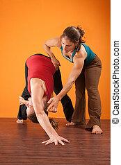 portion, instructeur, yoga, étudiant