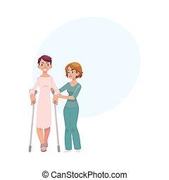 portion, kinésithérapeute, craquements, patient