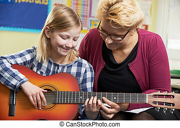 portion, lek, gitarr, musik, elev, lektion, lärare