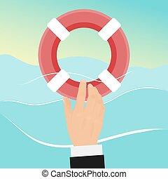 portion, lifebuoy., noyade, homme, vecteur, illustration., obtient, préservateur vie, homme affaires, secours, eau, buoy., business, survivre