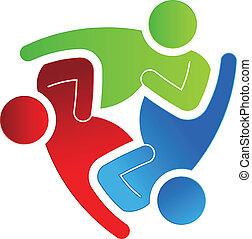 portion, logo, 3, design, geschaeftswelt
