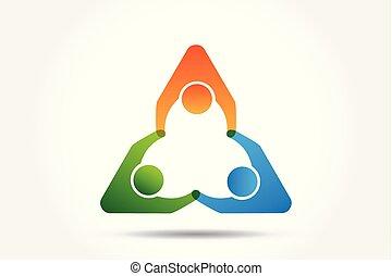 portion, logo, gemeinschaftsarbeit, leute