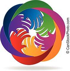 portion, logo, hände, gemeinschaftsarbeit, leute