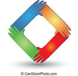 portion, logo, vecteur, mains