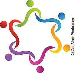 portion, logo, vektor, gemeinschaftsarbeit, swoosh