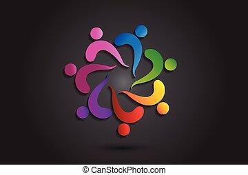portion, logo, vektor, leute