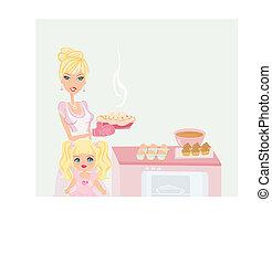 portion, mère, cuisine, fille