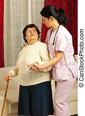 portion, maison, infirmière, femme, personnes agées