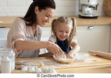 portion, maman, pétrissage, cuisine, ensemble, pâte, fille, mignon, enfant