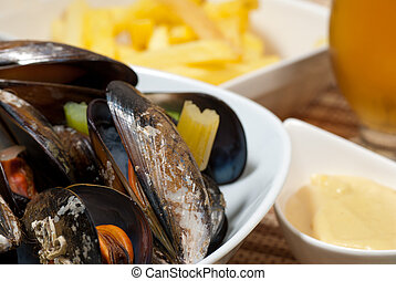 Belgian style mussels - Portion of Belgian style mussels,...