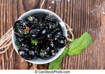 Portion of black Olives - Portion of pickled black Olives...