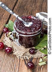 Portion of Cherry Jam - Portion of fresh made Cherry Jam on...
