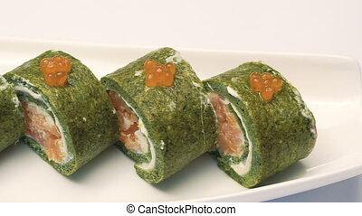Portion of delicious caviar sushi.