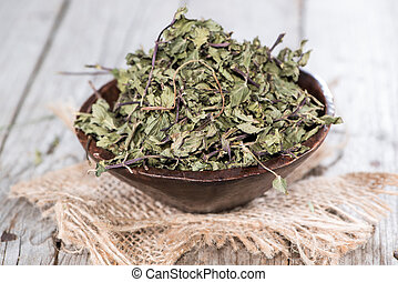 Portion of dried Mint (in a small bowl)