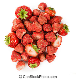 Portion of Dried Strawberries isolated on white - Portion of...