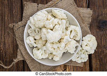 Cauliflower - Portion of fresh Cauliflower on wooden ...