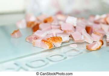 Portion of fresh diced ham close up