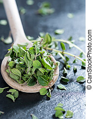Portion of fresh Oregano (detailed close-up shot)