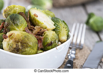 Portion of fried Brussel Sprouts