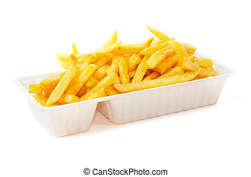 Portion of fries in disposable tray