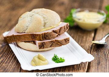 Portion of German Leberkaese (selective focus) - Leberkaese...