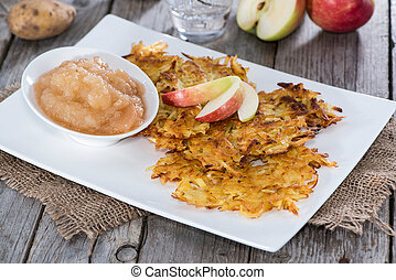 Portion of Homemade Potato Fritters on vintage wooden ...