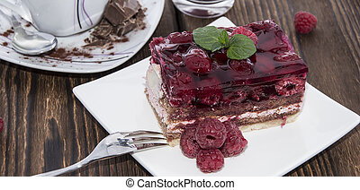 Portion of homemade Raspberry Tart on a plate