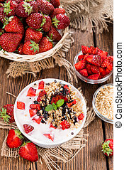 Portion of homemade Strawberry Yogurt (close-up shot)