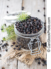 Juniper Berries - Portion of Juniper Berries on vintage...