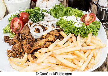 Portion of Kebab meat on a plate