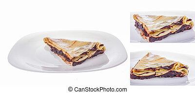 portion of pancake in three shots