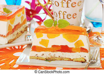 peach cake with jelly