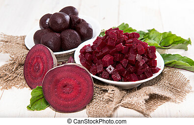 Portion of pickled Beetroot - Pickled Beetroot on wooden...