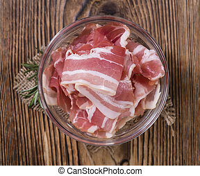 Portion of raw Bacon