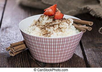 Portion of Rice Pudding with Cinnamon