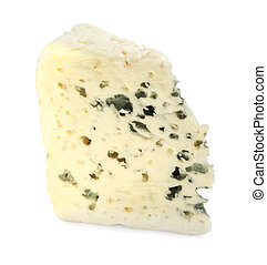 Roquefort cheese - Portion of Roquefort cheese isolated on...